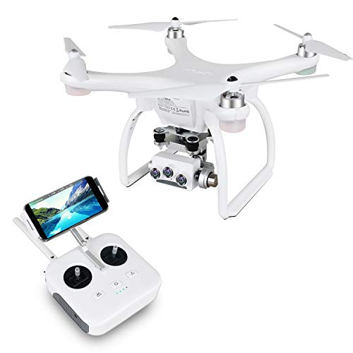 UPair 2 Ultrasonic Drone FPV Drones with Camera for Adults 4K UHD Live Video, 3D VR Drone for Beginners, RC Quadcopter with GPS Return Home, Follow Me, Altitude Hold and 5G WiFi Transmission, White