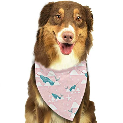 (FRTSFLEE Dog Bandana Sea Unicorn Whimsical Pink Blue Arctic Animal Whale Scarves Accessories Decoration for Pet Cats and Puppies)
