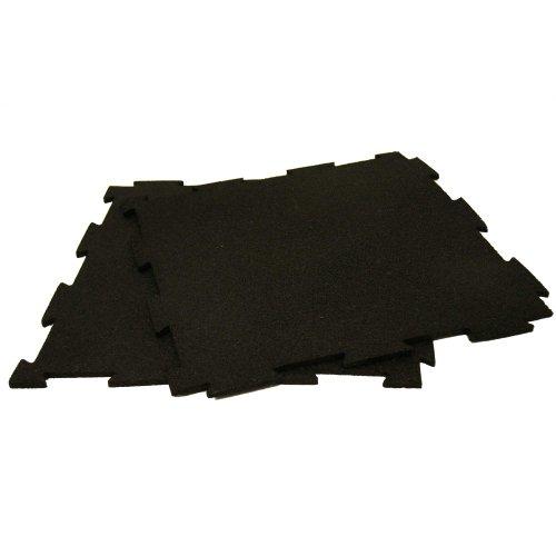 Rubber Cal Puzzle Lock Interlocking Floor Tiles-Pack of 10, Black, 3/8 x 20 x 20-Inch -