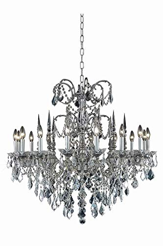 Elegant Cut Clear Crystal Athena 16-Light, Single-Tier Crystal Chandelier, Finished in Pewter with Clear Crystals ()