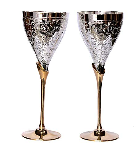 Wedding Toasting Goblets - KraftersHub Engraved Silver-Plated Pure Brass Wine Goblets Champagne Flutes For Bride and Groom Ideal For Wedding Gift Set of 2 Wine Toasting Glasses