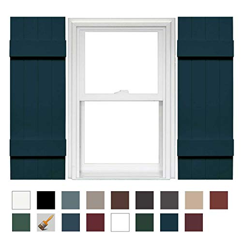 Mid-America Board-N-Batten 14 4 Board Joined Vinyl Standard Shutter - 1 Pair - 14 x 59 166 Midnight Blue