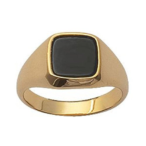 So Chic Jewels - Mens 18k Gold Plated Onyx Signet Ring - Size 8.5 -