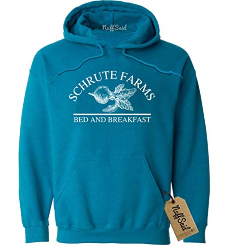 NuffSaid Schrute Farms Beets Bed and Breakfast Hooded Sweatshirt Sweater Pullover - Unisex Hoodie (Small, Antique Sapphire - White Ink) ()
