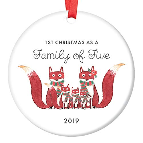 Cute Family of Five Ornament 2019 First 1st Christmas Fox Family of 5 Foxes Baby Shower Mom Dad New Infant Holiday Present 3rd Child Newborn Keepsake 3