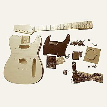 Gdtlfm Coban Guitars Cuerpo de Fresno Llama Arce Chapa Guitarra Eléctrica Kit Construcción Lado Derecho para