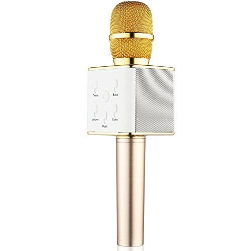 BONAOK Updated Wireless Karaoke Microphone, Easter Gift 3-in-1 Gold Microphone Portable Built-in Bluetooth Speaker Machine for iPhone Apple Android PC and Smartphone