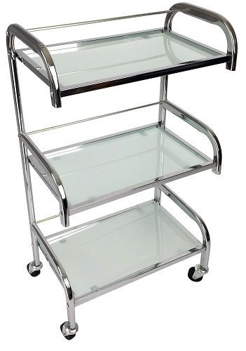 Eleanor Chrome Glass Salon Trolley - Mist Style - Hairdresser Barber Hair Beauty Drawers Spa Cart ST-ELNO-BLACK