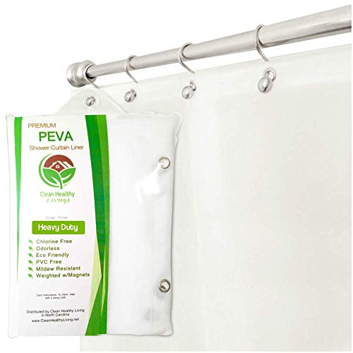 (Clean Healthy Living Heavy Duty PEVA Frost Shower Curtain Liner with Magnets & Suction Cups - 70 X 72 in. Long)