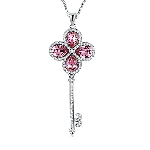 SUE'S SECRET Swarovski Necklace Four-Leaf Clovers Love Key to Heart Pendant Necklace with Swarovski Crystals, 18