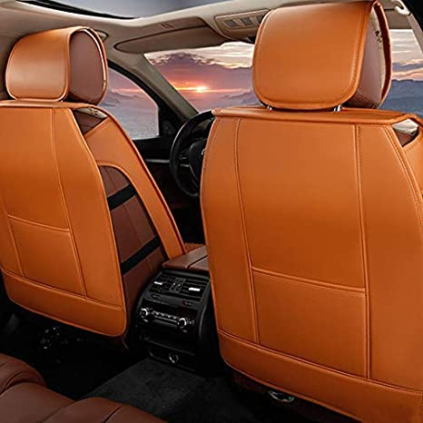 muchkey 5 Seats All Season Leather Car Seat Cover Full Set Waterproof for Nissan LEAF NV200 Combi Car Interior Accessories Style A black-red