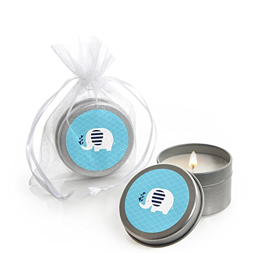 Blue Elephant - Candle Tin Boy Baby Shower Favors - Set of 12