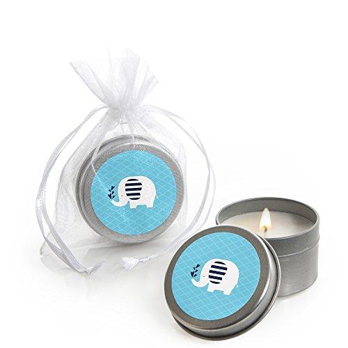 (Blue Elephant - Candle Tin Boy Baby Shower Favors - Set of 12)