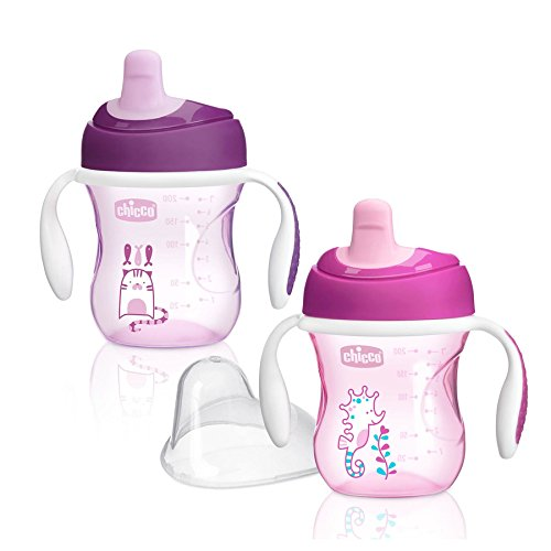 Chicco NaturalFit Semi Soft Spout Trainer Sippy Cup, Pink/Purple, 7 Ounce, 2 Count (Fell In Love In A Cop Car)