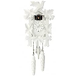 Trenkle Quartz Cuckoo Clock 5-Leaves, Bird TU 350/20 Q Weiss