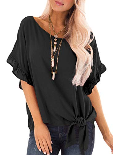 (Ecrocoo Women's Round Neck Ruffled Sleeve Blouse with Front Knot Detail Black S)