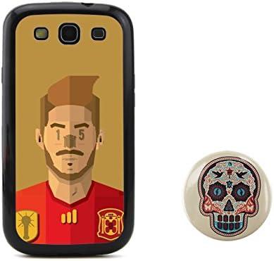 BuddiCase España Sergio Ramos cabeza de dibujos animados jugador de fútbol en relieve diseño estilo TPU + Plástico duro for Samsung Galaxy S3 SIII I9300 with diseño del cráneo del caramelo del