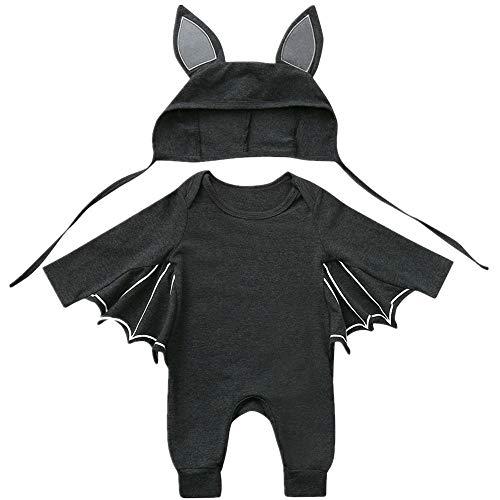 Miuye yuren Kids Halloween Costumes Boys Bat Sleeve Cosplay Costume Cute Outfits Romper+Hat Outfits Set Dark Gray