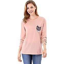 Allegra K Women's Drop Shoulder Long Sleeves Pocket Cat Prints Top L Pink