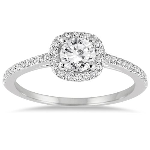 AGS Certified 3/4 Carat TW Diamond Halo Engagement Ring in 14K White Gold (K L Color, I2 I3 Clarity)