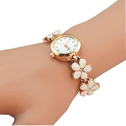 Ikevan Ikevan Newest Fashion Daisies Flower Rose Gold Bracelet Wrist Watch Jewelry Bangle Gift for Women Girls