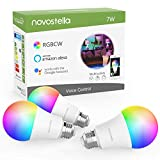 Novostella Smart WiFi LED Light Bulb, RGBCW Color Changing Bulb, 7W Dimmable Multicolored Lights, No Hub Required, Works with Alexa Google Assistant IFTTT (60W Equivalent,600lm, A19 E26, 3 Pack)