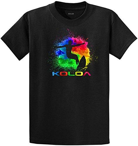 ash Surfer Logo Heavyweight Cotton T-Shirt-Black/c-XL (Color Splash Design)