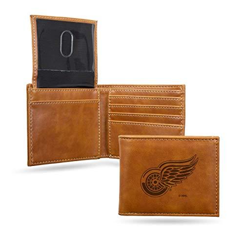 Rico Industries NHL Detroit Red Wings Laser Engraved Billfold Wallet, Brown