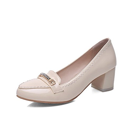 AmoonyFashion Womens Pointed Closed Toe Kitten Heels Solid Pull On Pumps-Shoes Beige L7XeUqM