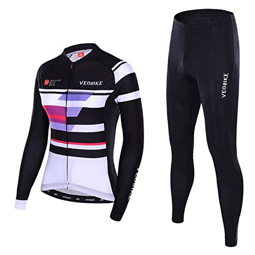 9a9a9108c5bdc EoCot Women Outdoor Cycling Jersey Suit Long Sleeve Bike Jersey Cycling  Sets Tights with Padded Black(Set) XXL