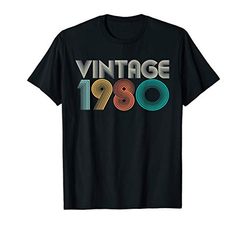Vintage Bday 1980 40th Birthday Gift Ideas Men Women Him Her T-Shirt (Gift Bday For Ideas Him)