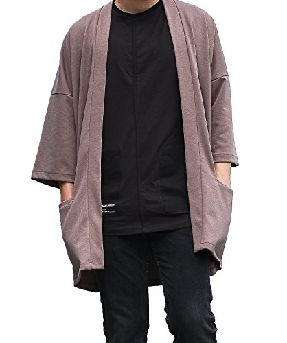 Kimono Sweater Jacket - LOST IN BKK Men's Long Oversized Kimono Cardigan Noragi Japan Jacket Haori Man Yukata Coat (Brown)