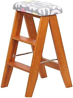 QQXX Taburete pequeño Mini Escalera de Madera Escalera Plegable multifunción Cocina Biblioteca de la Oficina Oficina Tres peldaños (Letras Grises) Cojín extraíble, Madera: Amazon.es: Hogar