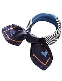 Women's 27.5'' Silk Satin Square Stripe Print Hair Head Scarf Neckerchief