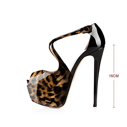 onlymaker Women's Ankle Strap Peep Toe Extreme High Heel Pumps Wedding Party Dress Stiletto Slip On Sandals 3-Leopard B gKUjGOk23I