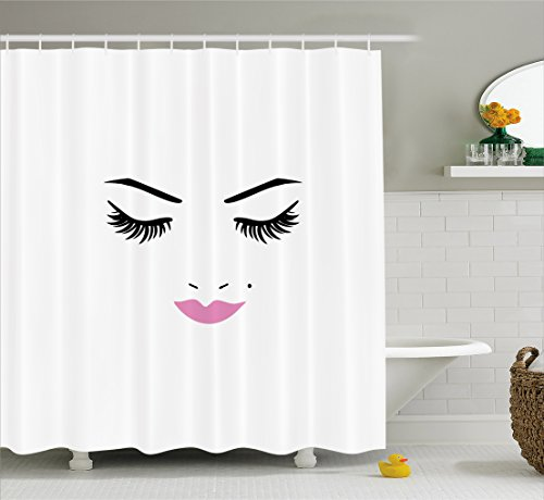 Ambesonne Eyelash Shower Curtain, Closed Eyes Pink Lipstick Glamor Makeup Cosmetics Beauty Feminine Design, Fabric Bathroom Decor Set with Hooks, 70 inches, Fuchsia Black White (Curtains Eyelash)