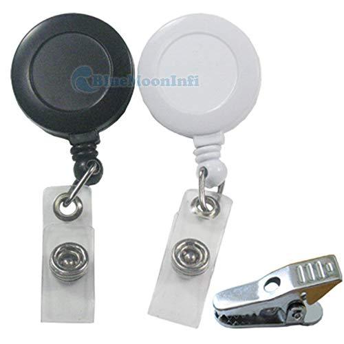 FidgetKute Reels Retractable Badge Holder Alligator Clip ID YOYO White Black 10 50 100 pcs Black 100 pcs