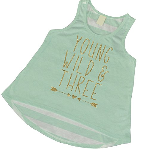 Girl 3rd Birthday Outfit, Young Wild and Three Tank Top (3T)