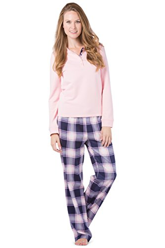 Box Flannel (Fishers Finery Womens Pajama Set; Fleece Henley Top; Flannel Pants; Gift Box (Nvy/Pnk, M))