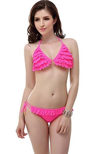 """Miss Adola Women's """"Jenn"""" Hot Pink Ruffle Lace Triangle String Bikini Set - S"""