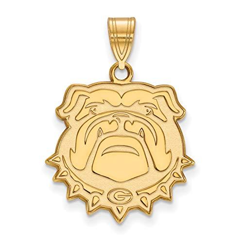 University of Georgia Bulldogs School Mascot Head Pendant Gold Plated Silver 20x20mm