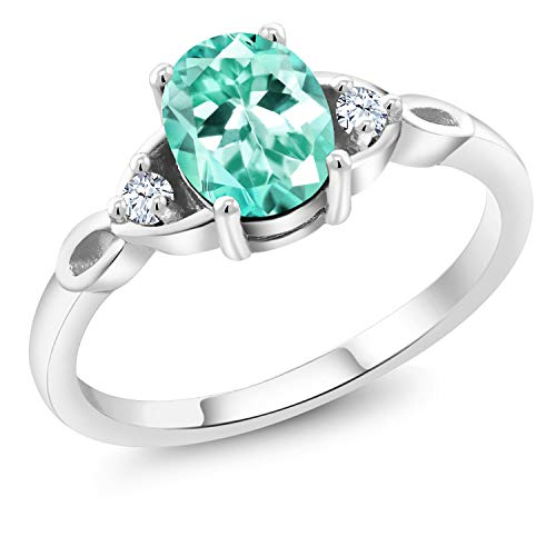 Gem Stone King 1.28 Ct Oval Blue Apatite White Created Sapphire 925 Sterling Silver Ring (Size 7) ()