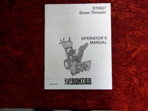 Frontier ST0927 Snow Thrower OEM OEM Owners Manual Frontier