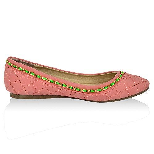 Damen Modische Peach Schuhe Neon Halb Ballerinas Slipper Ketten Flandell OOxvpr
