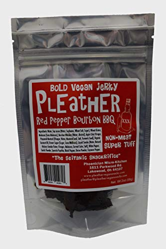 Red Pepper Bourbon BBQ Vegan Jerky - Bold BBQ Flavor - Made with Real Bourbon - Hand Made - Meatless Vegan Jerky