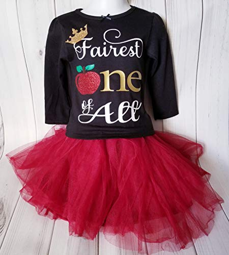 Girls Snow White Evil Queen Glitter Sparkle Fairest ONE of them all Crown Apple 1st Birthday Shirt 18 months-READY TO ()