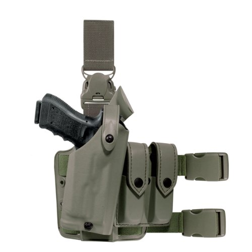 Leg Quick Release Harness - Safariland 6005 Tactical Gun Holster SLS Hood Quick Release Leg Harness Foilage Green Right Handed Sentry Guard Beretta 92 96