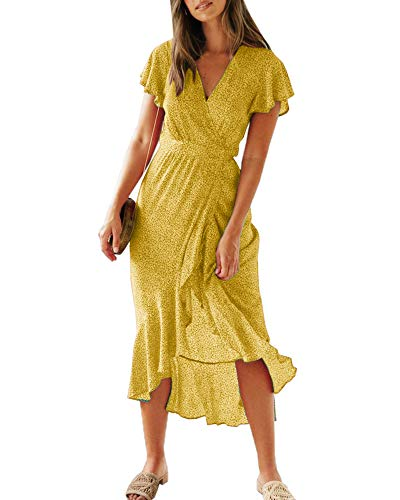 Dresses Junior Spring (Imysty Womens Boho Floral Printed V Neck Wrap Dresses Short Sleeve Beach Maxi Long Dress with Belt Yellow)