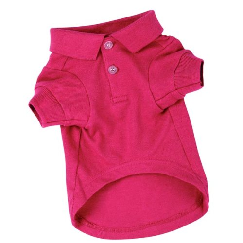 Zack and Zoey Cotton Polo Dog Shirt, Small, 12-Inch, Raspberry Sorbet, My Pet Supplies