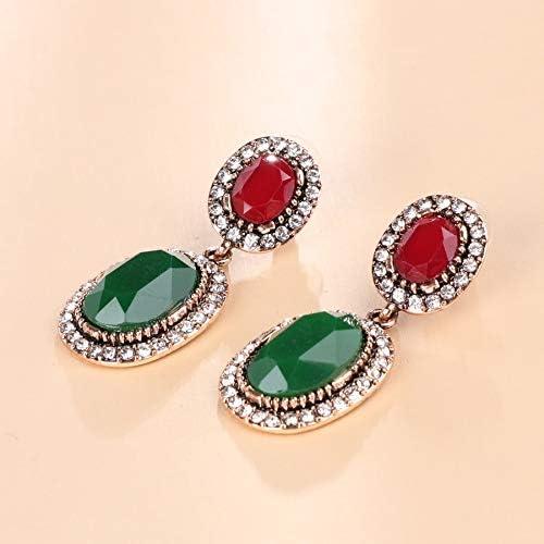 YDMZMS Joyas Boho para Mujeres Pendientes Colgantes con Piedras Antiguas de Oro Verde Resina Piedras Blancas Pendientes ovales Grandes